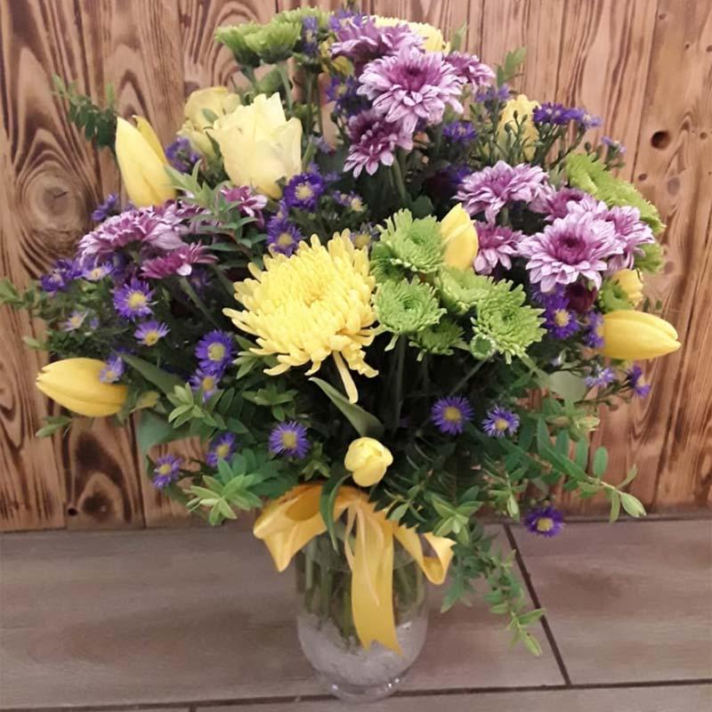 Flowers in glass vase & Flowers in glass vase - Kloof Florist